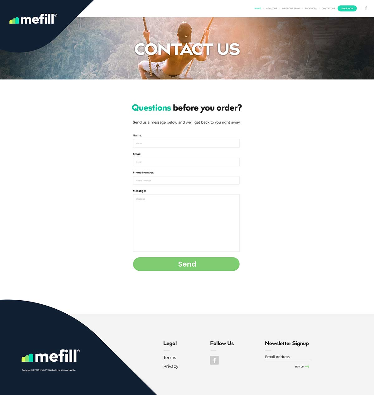Mefill Contact page